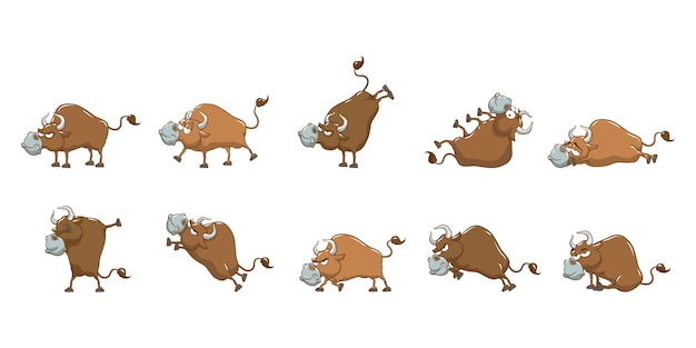 Bull  set collection graphic clipart design