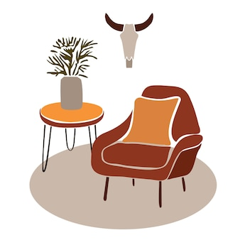 Bull skeleton in the interiormodern boho interior with abstract elements in  cut out style Premium Vector
