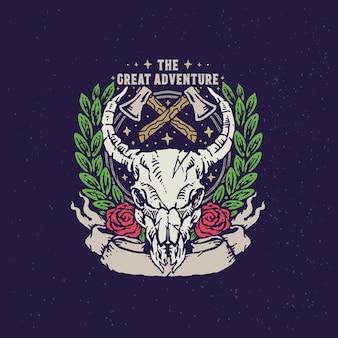 Bull skull adventure урожай рисованной иллюстрации