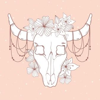 雄牛の頭蓋骨の角の花の装飾自由奔放に生きると部族スタイルのイラスト
