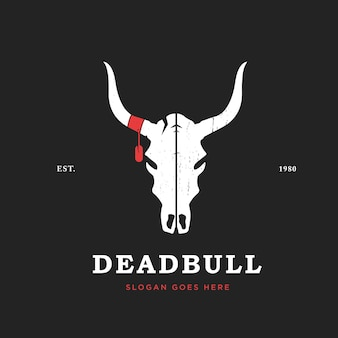 Bull skull logo design template vintage style bull head logo