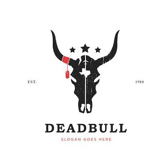 Шаблон дизайна логотипа черепа быка винтажный стиль бычья голова с техасским и звездным логотипом
