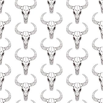 Bull skull seamless pattern