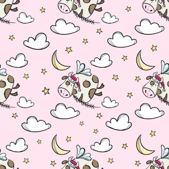 Bull in the sky  with christmas tree branch. cute animal hand drawn seamless pattern