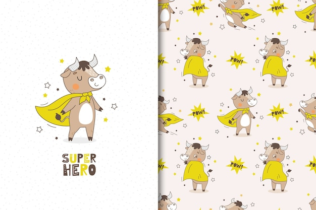 Набор мультфильм супергероя быка