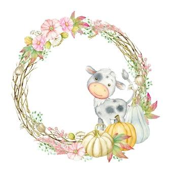 Бык, окруженный круглой рамкой из тыкв, цветов. акварельная осень, клипарт