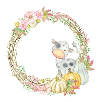 Bull, surrounded by a round frame made of pumpkins, flowers. watercolor autumn, clipart