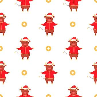 Bull symbol of chinese new year seamless pattern.