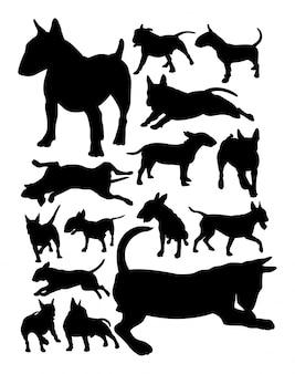 Bull terrier dog animal silhouettes.