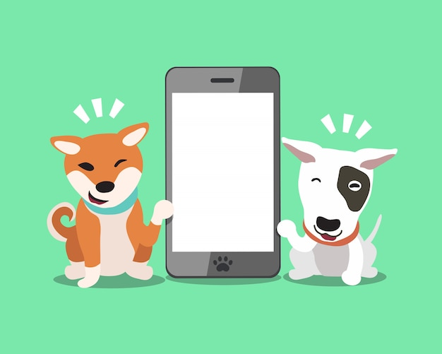 Bull terrier dog and shiba inu dog with smartphone