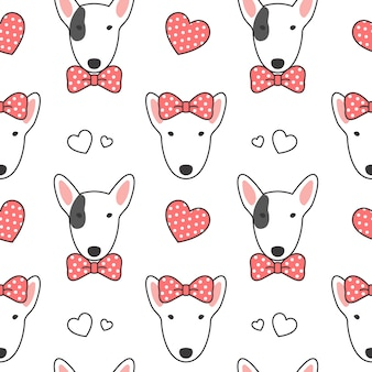 Bull terrier seamless pattern background
