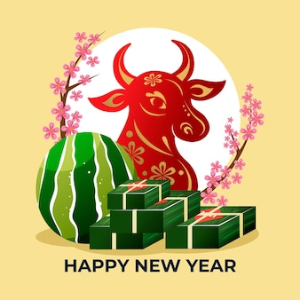 Bull and tet cake happy vietnamese new year 2021