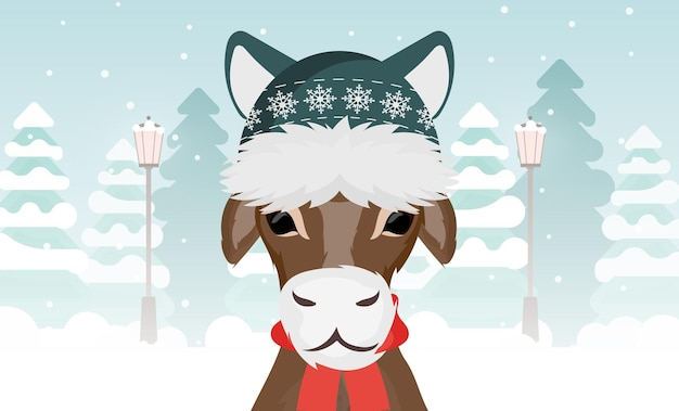 A bull in a warm winter hat against the background of a winter forest. vector