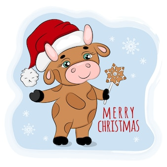 Bull with christmas gingerbread new year cartoon holiday animal  illustration