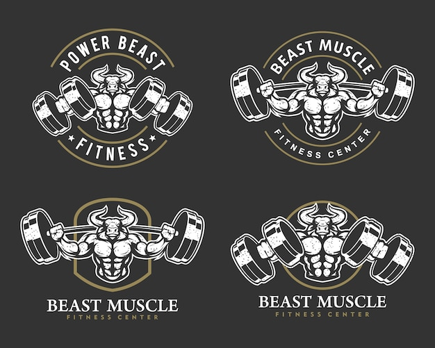 Bull with strong body, fitness club or gym logo set.