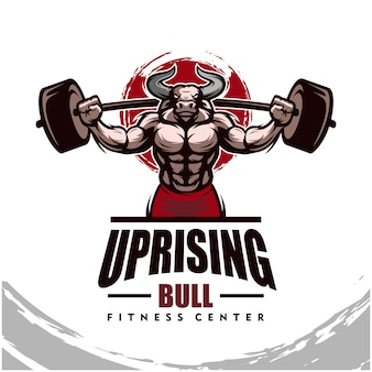 Bull with strong body, fitness club or gym logo.