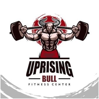 強い体、フィットネスクラブまたはジムのロゴのある雄牛。