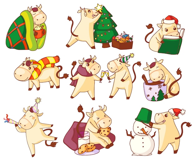 Bull year symbol. cute kawai bull new year character  symbol icon set  on white background. chinese zodiac sign in festive cap and christmas hat holiday activity illustration