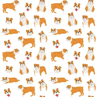 Bulldog in action, seamless pattern