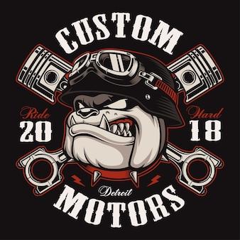 Bulldog biker with crossed pistons.