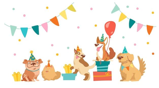 불독, 불 테리어, 코기, 스피츠 캐릭터가 생일 파티를 축하합니다. 휴일 장비 풍선, 선물 및 깃발 화환, 키즈 디자인이 있는 귀여운 카와이 개. 만화 벡터 일러스트 레이 션