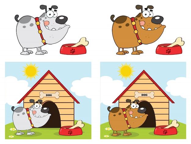 Bulldog cartoon mascot character set