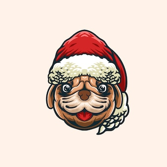 Bulldog christmas head illustration