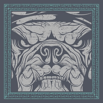 Bulldog close up in frame , illustration,easy to edit
