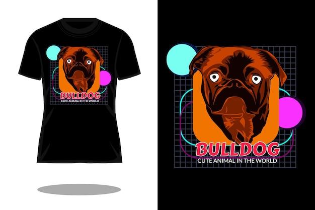 ブルドッグかわいい動物のストリートウェアtシャツのデザイン