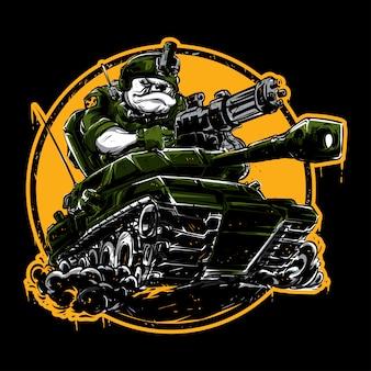 Bulldog driving a tank