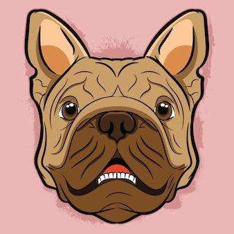 Bulldog head cute illustration