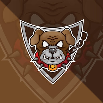 Bulldog head esport mascot logo for esport gaming and sport premium free vector