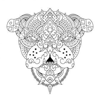 直線的なスタイルのブルドッグマンダラzentangleイラスト