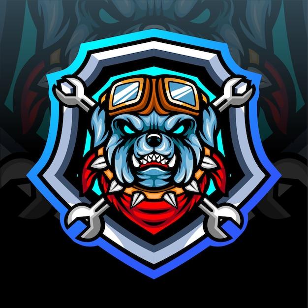 ブルドッグのマスコット。 eスポーツロゴデザイン