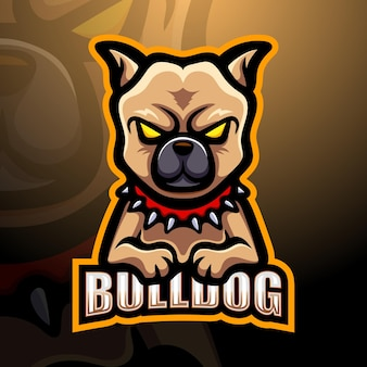 Бульдог талисман киберспорт логотип иллюстрации