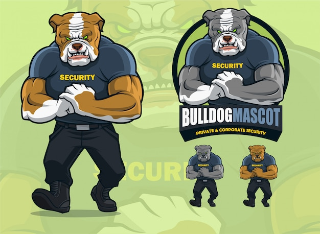 Bulldog mascot for security companies with alternate colors.