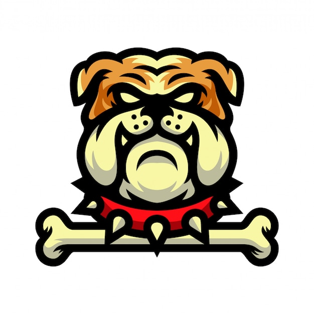 Bulldog mascot with bone logo vector illustration