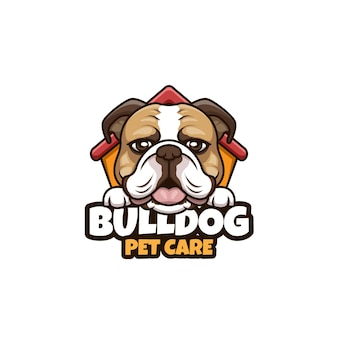 Bulldog pet care cartoon illustration logo