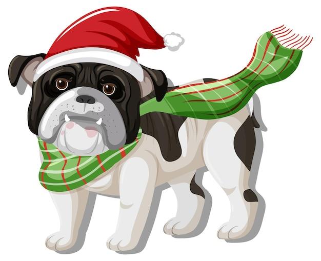 クリスマスの帽子の漫画のキャラクターを身に着けているブルドッグ