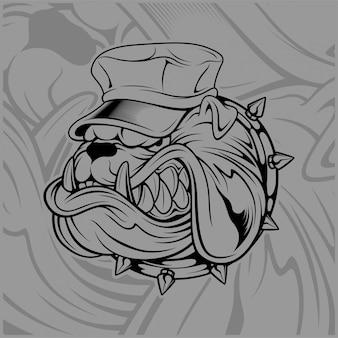 Bulldog wearing hat vector