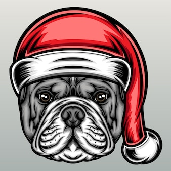 Bulldog with christmas hat.