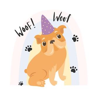 Bulldog con cappello da festa