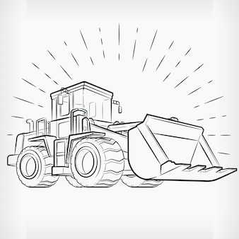 Бульдозер каракули строительная машина рука рисунок эскиз