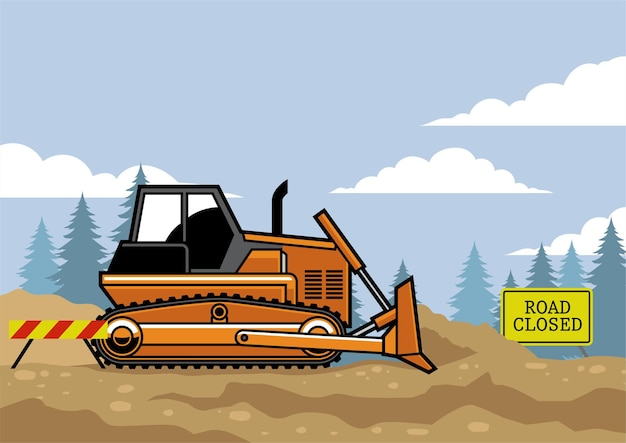 Bulldozer flat vector style on the site