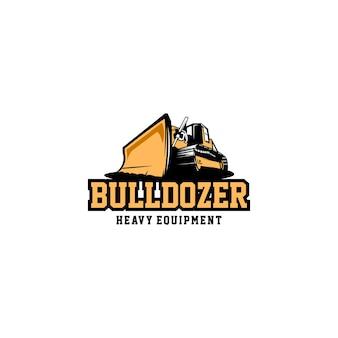 Бульдозер тяжелой техники логотип вектор