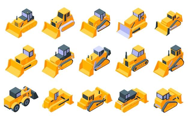 Bulldozer icons set, isometric style