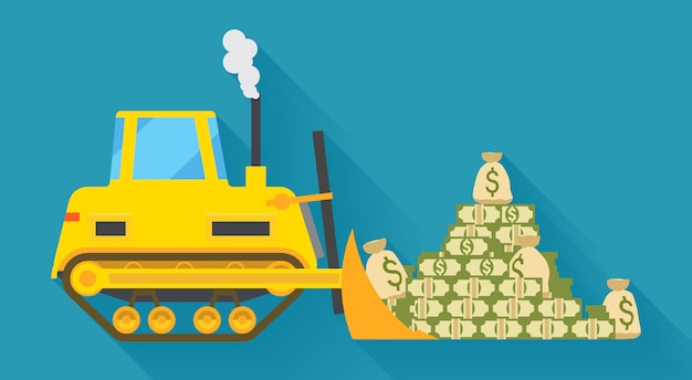 Bulldozer pilling money shown from the side