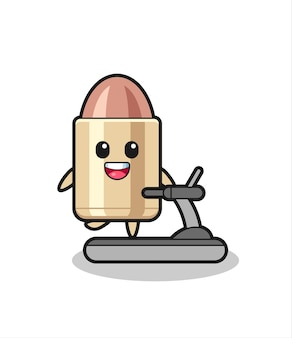 Bullet cartoon character walking on the treadmill , cute style design for t shirt, sticker, logo element