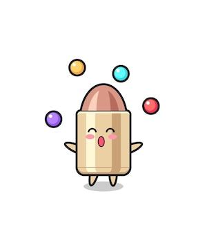 The bullet circus cartoon juggling a ball , cute style design for t shirt, sticker, logo element