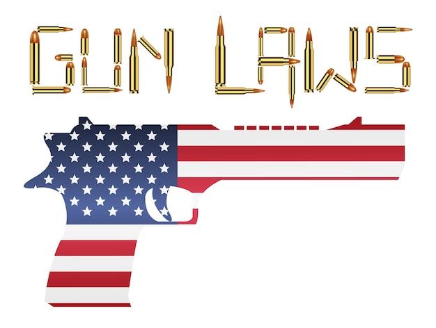 Bullet gun laws with america flag hand gun